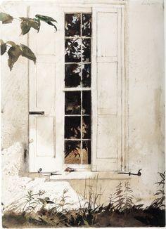 huariqueje: Andrew Wyeth (1917-2009) [The pikes] De rijven, 1965. Aquarel op papier, 71.12 x 48.26 cm. San Diego Museum of Art.