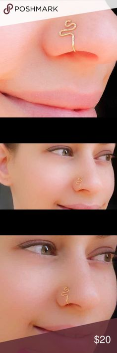 Clip on nose ring fake piercing cuff jewelry Your choice of either 925 Sterling silver, 14k yellow or rose gold filled fake Nose Ring. Simply slide on and gently tighten until comfy. nejd Jewelry