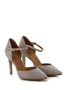 THE SELLER - Scarpa con tacco - Donna - Scarpa con tacco in tessuto lurex con cinturino alla caviglia e suola in cuoio e gomma. Tacco 95. - CHAMPAGNE - € 129.00