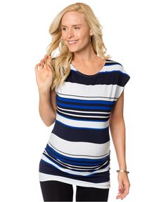 ffda9410843e8 BumpStart Cap-Sleeve Striped Maternity Tunic & Reviews - Maternity - Women  - Macy's