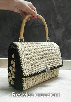 Bauletto uncinetto# stile D&G# noccioline bambu' Crotchet Bags, Knitted Bags, Crochet Purse Patterns, Crochet Shoes, Crochet Handbags, Crochet Purses, My Bags, Purses And Bags, Painted Canvas Shoes