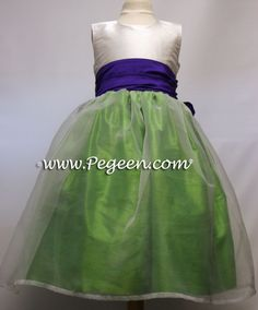Key Lime and Purple Heart and white organza Infant Flower Girl Dresses Green Flower Girl Dresses, Girls Easter Dresses, Key Lime, Custom Dresses, Green And Purple, Unique Weddings, Ball Gowns, Infant, Ballet Skirt