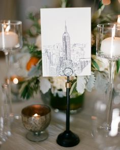 Chic Manhattan-themed table cards