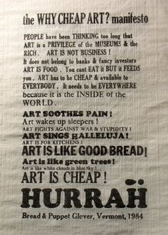 The Cheap Art Manifesto (fromBread & Puppet:... — A. King in Society