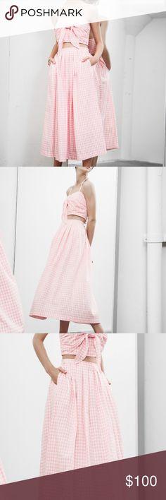 JOA Gingham Bra Top and Midi Skirt Brand new with tags, never worn! Top: Self: 100 % Polyester, skirt: Self: 100 % Polyester, Lining: 100 % Cotton JOA Skirts Skirt Sets