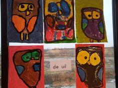 Uil verven met kleuters. Met stappenplan Kleuterklasse.nl Halloween Crafts For Kids, Fall Crafts, Creative Kids, Baby Animals, Art For Kids, Museum, Birds, School, Projects