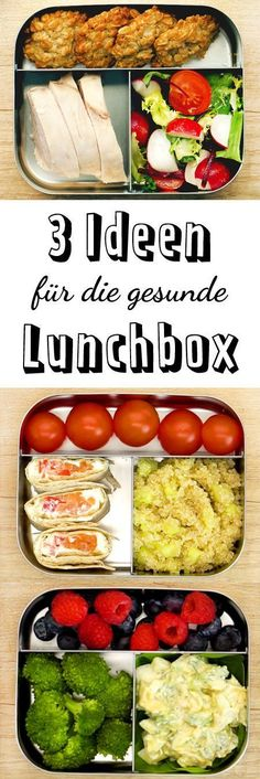 3 healthy ideas for the lunchbox - that& how it works- 3 gesunde Ideen für die Lunchbox – so geht's The lunch break is saved! Healthy Eating Tips, Healthy Meal Prep, Healthy Nutrition, Healthy Snacks, Healthy Recipes, Keto Recipes, Clean Eating, Lunch Snacks, Lunch Recipes