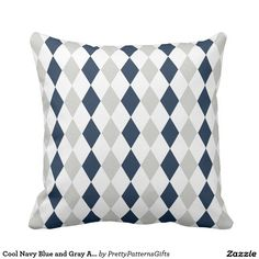 Cool Navy Blue and Gray Argyle Diamond Pattern