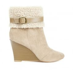 I love these wedge booties- they come in taupe, brown, and black.