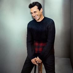 Mr Jon Hamm for MR PORTER wearing Valentino Sweater and Berluti Trousers.