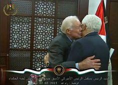 Ex presidente estadounidense Jimmy Carter con  el  Presidente Mahmoud Abbas de la Autoridad Palestina, en Ramallah el 02 de mayo de 2015.  (Fuente de la imagen: la oficina del presidente de la AP)