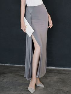 Gray,High Waist,Ruched,Split,Maxi Skirt