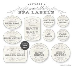 Free printable editable Spa Labels by @liag A really outstanding collection you can use for favors, gifts and many other labeling projects