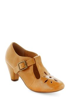 Burst of Style Heel in Mustard by Chelsea Crew - Yellow, Solid, Cutout, Vintage Inspired, 20s, 30s, Mid, Leather, Work, Faux Leather, Mary Jane, Variation