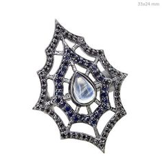 Designer 925 Sterling Silver Diamond Sapphire/ Moonstone Spider Web Ring Jewelry…