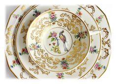 Rare 1910s Limoges Teacup Trio French Antique Tea Cup Trio Pheasant Floral Hand…