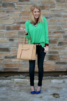 Green sweater with plaid