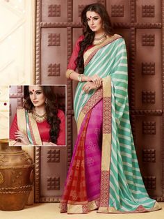 Half & Half Saree is reflecting evergreen liking of women.  Item Code: SSVH6666 http://www.bharatplaza.com/new-arrivals/sarees.html