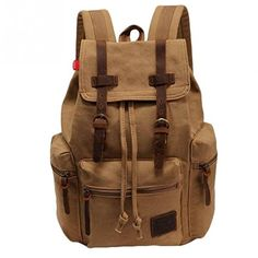 Senmar Large Capacity Men Women Canvas Leather Backpack Rucksack boy girls Schoolbag  15 Inch Laptop Backpack Travel Hiking Daypack Khaki ** Read more  at the image link.