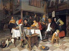 Jan Steen Art | Jan Steen (Dutch artist, 1626-1679) 1665 Boy holds a club