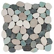 Durian River Flat Pebble Stone Mosaic - cute stone for kitchen backsplash, maybe with dark gray or tan-ish granite