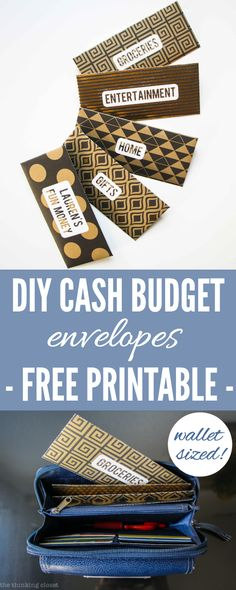 DIY Cash Budget Envelopes: Free Printable   Learn how to create your own wallet-sized envelopes using any paper or scrapbook paper.   @thinkingcloset