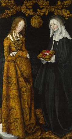 Lucas Cranach the Elder, Saints Christina and Ottila from the St Catherine Altarpiece, 1506 (source).