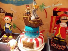 Jake and the Neverland Pirates birthday party cake! See more party planning ideas at CatchMyParty.com!