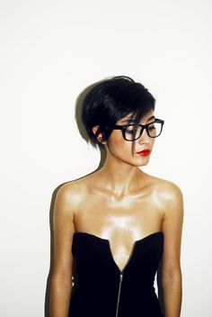 If only the top were two inches higher and didn't look like it was falling off. This is one sexy look! LOVE the short hair with geeky frames and a bold red lip. Hot damn!