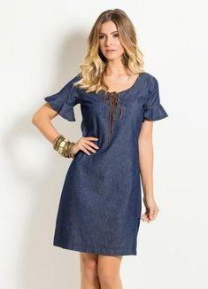 Pattern denim dress (sewing and cutting) - Journal Inspiration Needlewoman Denim Fashion, Girl Fashion, Dress Outfits, Fashion Dresses, Modest Dresses Casual, Best Prom Dresses, Denim Ideas, Denim Outfit, Dress Patterns
