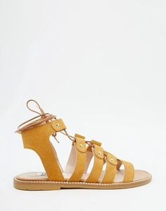 652dc9cf0546 Image 2 of Dune Loreli Tan Suede Ghillie Flat Sandals Latest Clothes