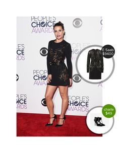 Lea Michele on the red carpet at the People's Choice Awards - seen in Brian Atwood and Elie Saab. #brianatwood #eliesaab  #leamichele @dejamoda