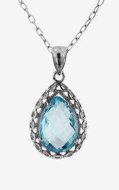 Sterling Silver Swiss Blue Topaz Teardrop Pendant Necklace