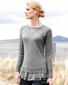 FANTASTIC.  Cashmere, RAGLAN, the hem..... *Garnet Hill:  Shirttail Cashmere Sweater