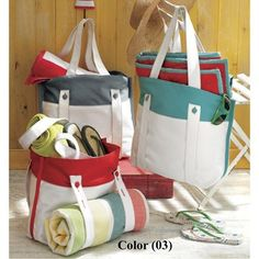Tag Canvas Beach Tote Bag in Red...perfect bag for the beach or excursions!