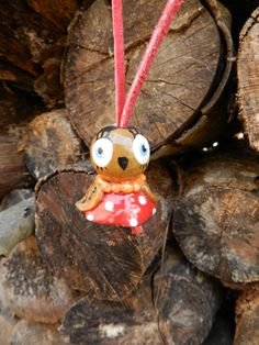 Clay owl ,cue owl,owl clay,wooden owl,owl jewelry,kids jewelry,necklace,wooden bead by malinkaartz on Etsy