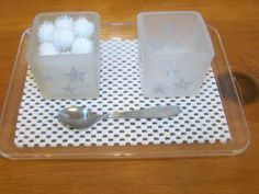 Practical life activities and other snow theme ideas.  Fun fine motor station that is not messy and noise free.  Great addition to your winter unit that works those fine motor skills.