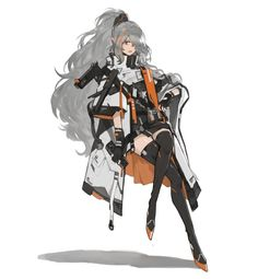 Grey hired long earred girl in Futuristic-like military attire. Female Character Design, Character Design Inspiration, Character Concept, Character Art, Concept Art, Fantasy Characters, Female Characters, Anime Characters, Anime Weapons
