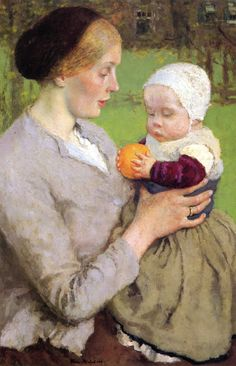 Mother and Child with Orange, Gari Melchers