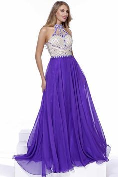 Prom Dress NX8200. Floor Length A-Line Prom Gown with Gemstone and Lattice Pattern Beading Embellished Bodice with Halter Neck and Semi Sheer Back with Cutout, Zipper Closure, Solid Color Softly Gathered Skirt. https://www.smcfashion.com/wholesale-dresses?page=2