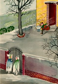Sempé: How to catch a cold Winter Illustration, Christmas Illustration, Book Illustration, Satirical Illustrations, Illustrations Posters, 12 Image, Cozy Christmas, The New Yorker, Pretty Art