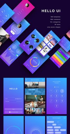 Hello UI Kit 160 Sketch compatible unique mobile screens. Top UI kits mobile app.Preview inside.