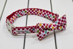 Collar de perro con pajarita perlas de algodón rojo amapola - El Atelier de Teo