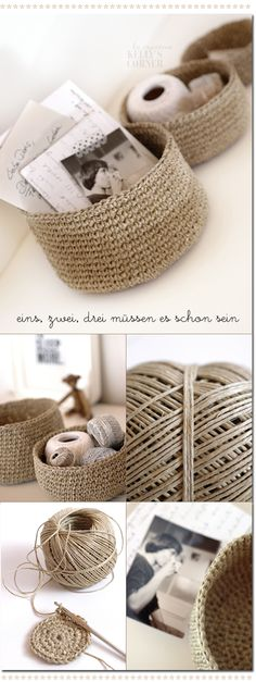 Crocheted storage bowls from packing twine. Good idea to do in a square for my shelves.