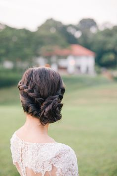Braided bridal updo! Dreamy and Rustic Wedding Picnic Inspiration