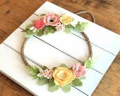 Felt Wreath, felt wreath baby, felt flowers, felt flower, monogramed wall decor, girl nursery, baby shower, wedding, bedroom decor,spring