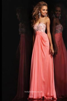 strapless coral chiffon long prom dress with sweetheart neckline and beaded bodice