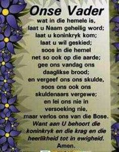 the lords prayer in afrikaans - Yahoo Image Search Results Prayer Box, Prayer Verses, Bible Verses, Mom Prayers, Morning Prayers, Verses For Kids, Afrikaanse Quotes, Inspirational Qoutes, Faith In God