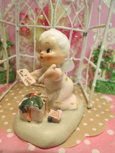 Vtg NAPCO Christmas Angel Itsy Bitsy Angel W Holly Berry Gift Pen FOR YOU Tag
