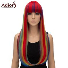 Adiors Women's Colorful Straight Long Full Bang High Temperature Fiber Cosplay Wig #jewelry, #women, #men, #hats, #watches